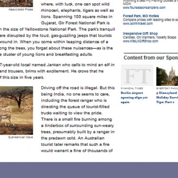 My nature photograph gets published by the Wall Street Journal of USA!