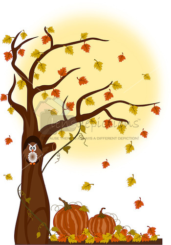 Vector illustration of autumn tree and leaves with owl and pumpkins.