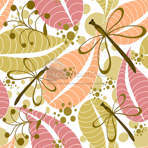 Stock seamless vector pattern of fall leaves, autumn berries and dragonflies.