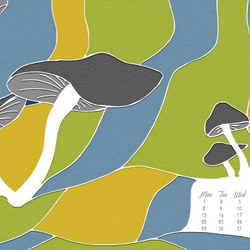 The Mushroom Landscape – An illustration + May 2017 Desktop Calendar Wallpaper Free Download