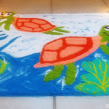 Turtles in my sun-room – Diwali Rangoli!
