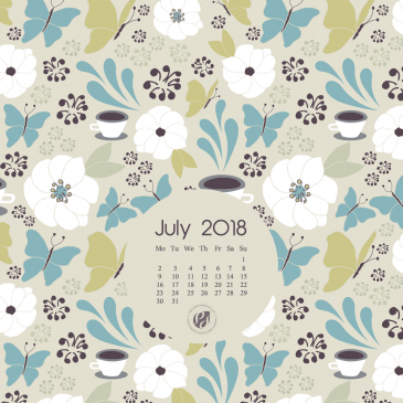 July 2018 Free Wallpapers/Calendars & Printable Planner, Illustrated – Coffee In The Garden!