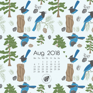 August 2018 Free Wallpapers/Calendars & Printable Planner, illustrated – Sierra Forest!