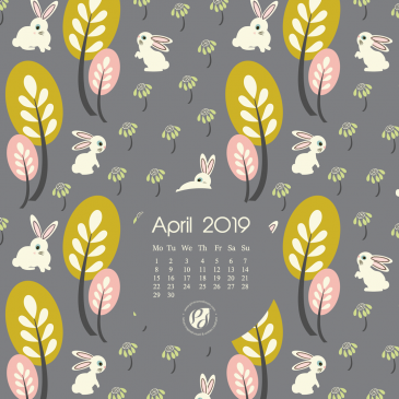 April 2019 free calendar wallpapers & printable planner, illustrated – Bunnies In A Wildflower Meadow!