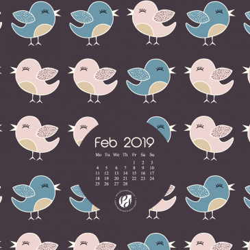 Feb 2019 free calendar wallpapers & planner – illustrated cute folk birds + Free Valentine's Day printable greeting card!