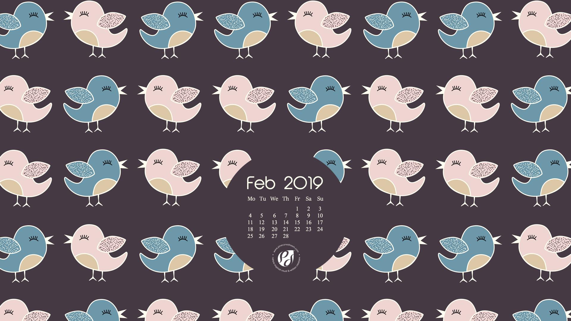 February Cute Desktop Calendar 2019 Feb 2019 free calendar wallpapers & planner   illustrated cute