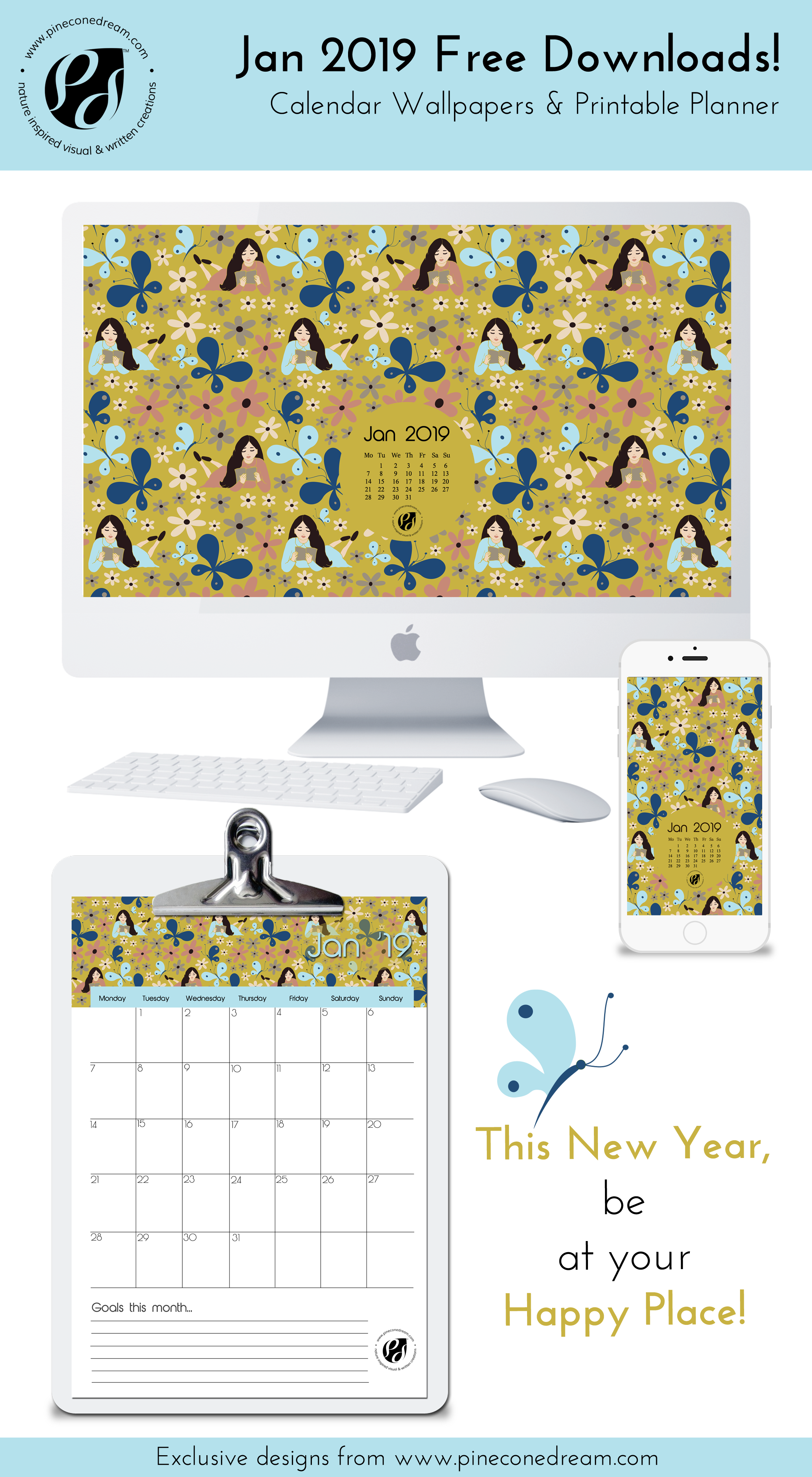 Jan 2019 free wallpapers, calendar, planner illustrated