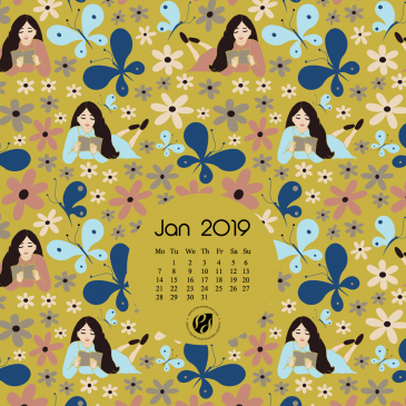 January 2019 Free Calendar Wallpapers & Printable Planner, illustrated – The Happy Place!