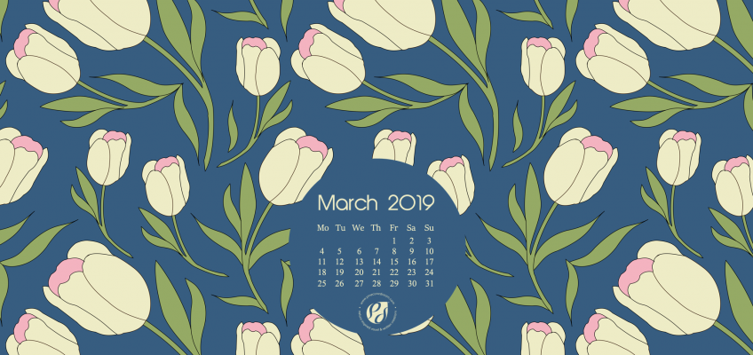 March 2019 desktop calendar wallpaper