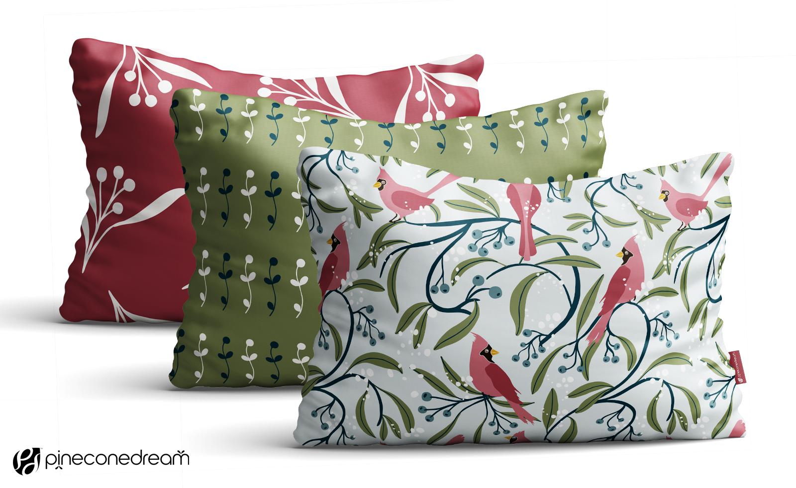 Winter Cardinals Floral Throw Pillows