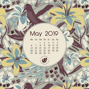 May 2019 free calendar wallpapers & printable planner, illustrated – Hummingbird in Lilies!