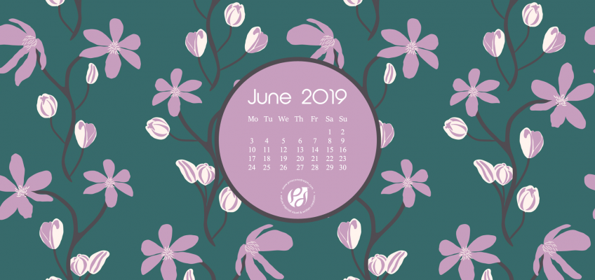June 2019 free calendar wallpaper illustrated clematis flowers vines