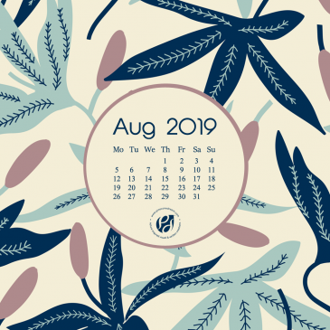 August 2019 free calendar wallpapers & printable planner, illustrated – Pastel flora!