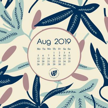 August 2019 free calendar wallpapers & printable planner, illustrated – Pastel flora!