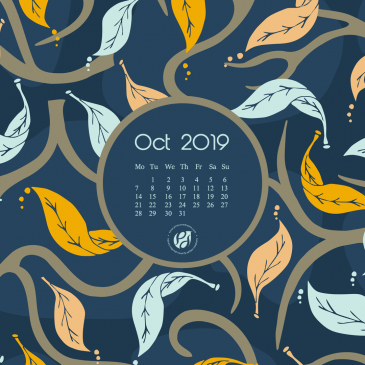 October 2019 free calendar wallpapers & printable planner, illustrated – Midnight Fall