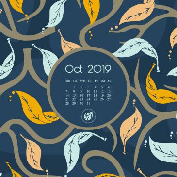 October 2019 free calendar wallpapers & printable planner, illustrated – Midnight Fall