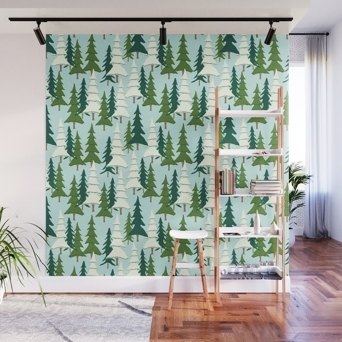 Winter Pines Wall Mural