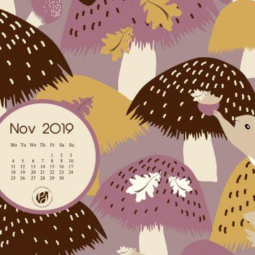 November 2019 free calendar wallpapers & printable planner, illustrated – Acorn Hunt!