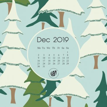 December 2019 free calendar wallpapers & printable planner, illustrated – Winter Pines