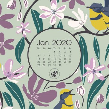 Jan 2020 free calendar wallpapers & printable planner, illustrated – Flowers & Finches!