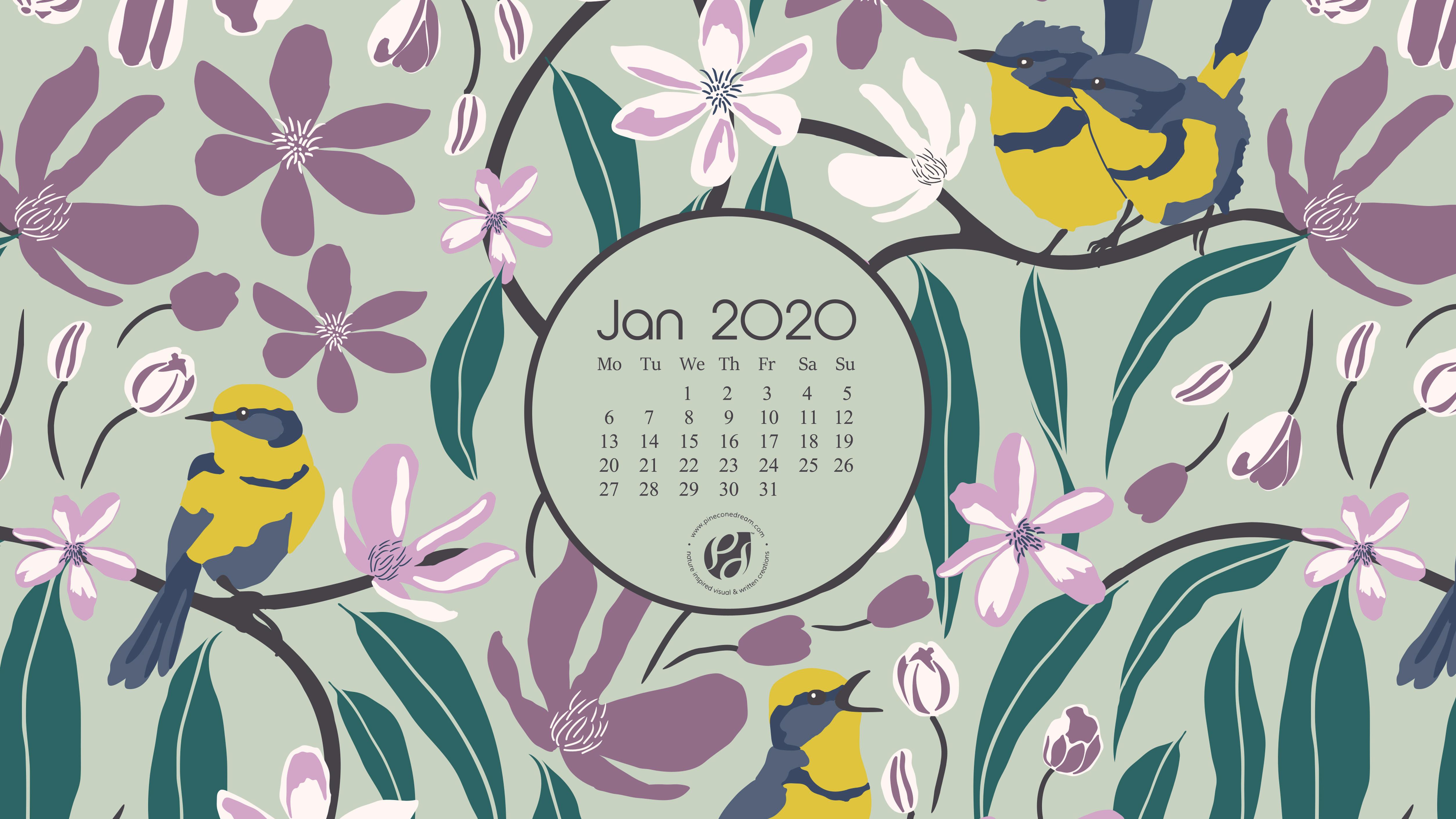 Jan 2020 Free Calendar Wallpapers Printable Planner Illustrated