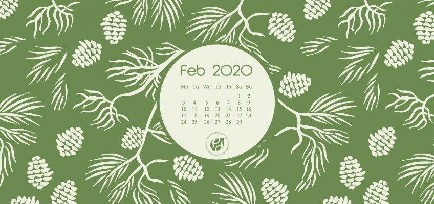Feb 2020 Desktop Calendar Wallpaper