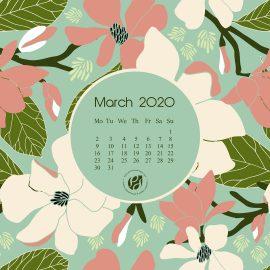 March 2020 desktop calendar wallpaper