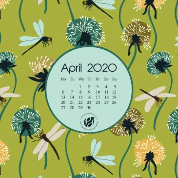 April 2020 free calendar wallpapers & printable planner, illustrated – A Dandelion Meadow Awaits!