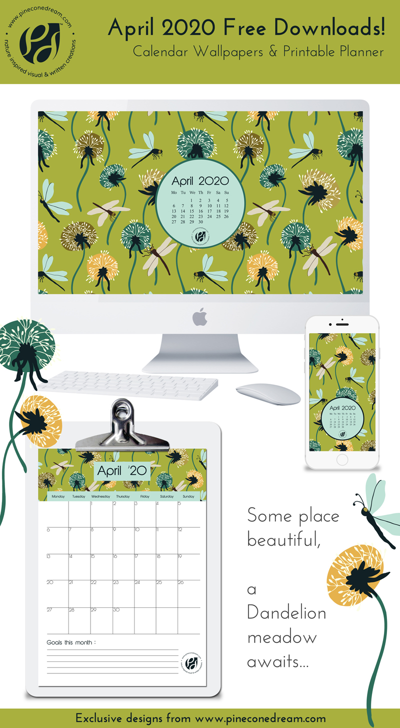 April 2020 calendar wallpapers planners