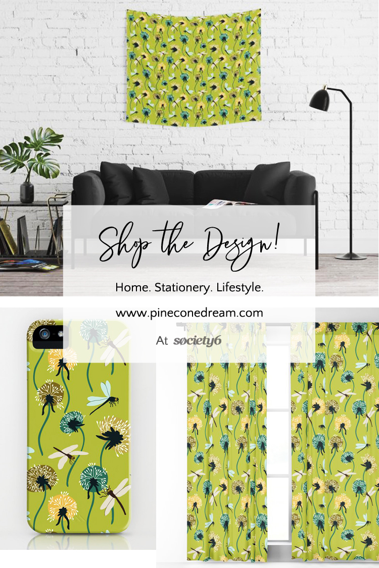 Danelions & Dragonlflies surface pattern
