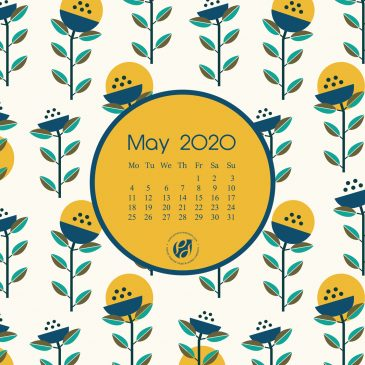 May 2020 free calendar wallpapers & printable planner, illustrated – Geometric Wildflowers!