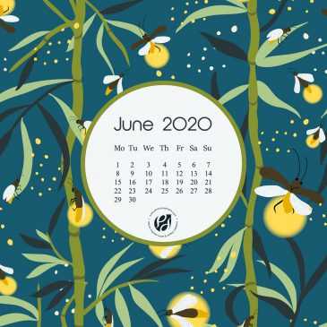 June 2020 free calendar wallpapers & printable planner, illustrated – Glowing Bamboos!