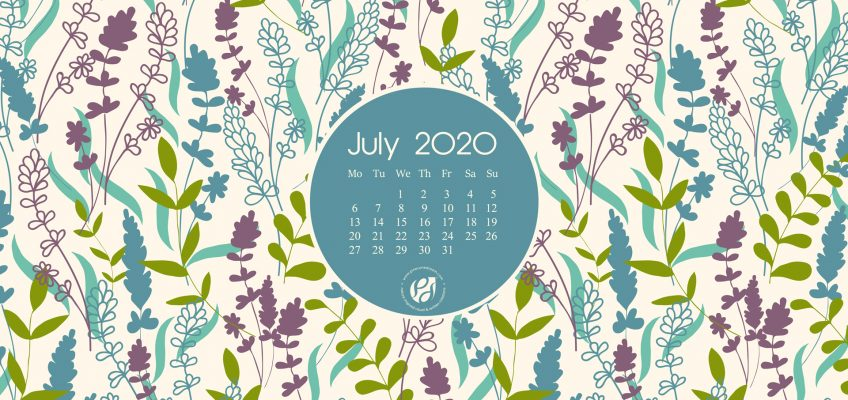July 2020 desktop calendar wallpaper floral