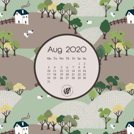 Aug 2020 Desktop Calendar Wallpaper
