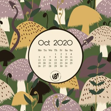 Oct 2020 free calendar wallpapers & printable planner, illustrated – The Mushroom Field