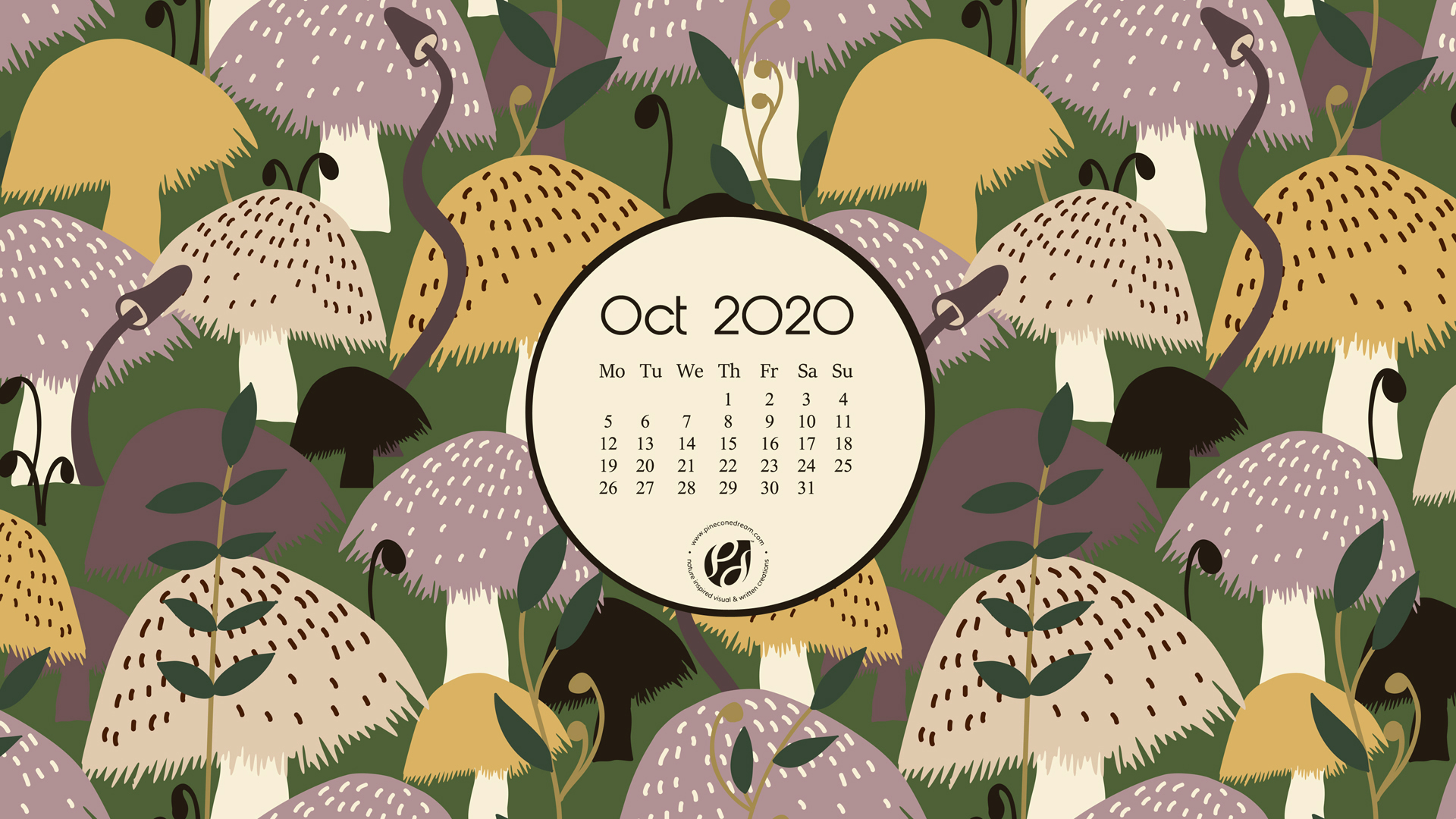 Oct 2020 Free Calendar Wallpapers Printable Planner Illustrated The Mushroom Field Pineconedream By Gyaneshwari Dave