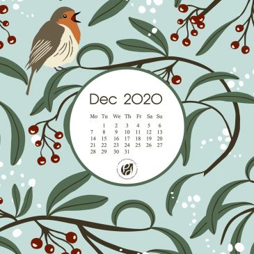 December 2020 free calendar wallpapers & printable planner, illustrated – Winter Berries & Robins