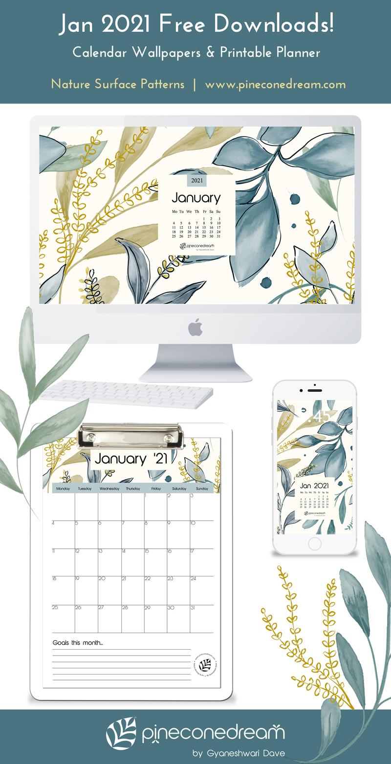 Jan 2021 Desktop Calendar Wallpaper