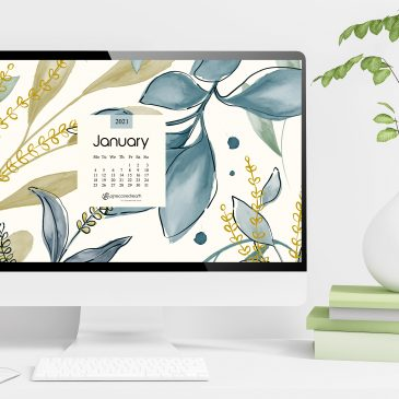 January 2021 free calendar wallpapers & printable planner, illustrated – Winter Hues