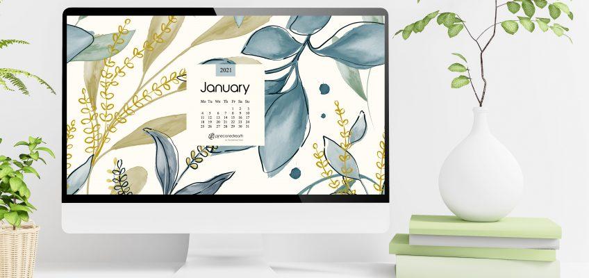 Jan 2021 Desktop Calendar