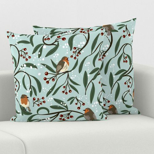 Christmas Robins Pillows