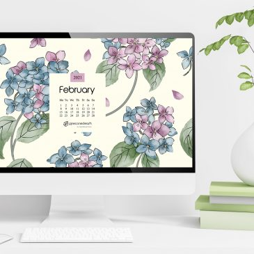 February 2021 free calendar wallpapers & printable planner, illustrated – Sweet Hydrangeas