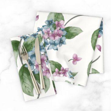 Floral Hydrangeas Dinner Napkins