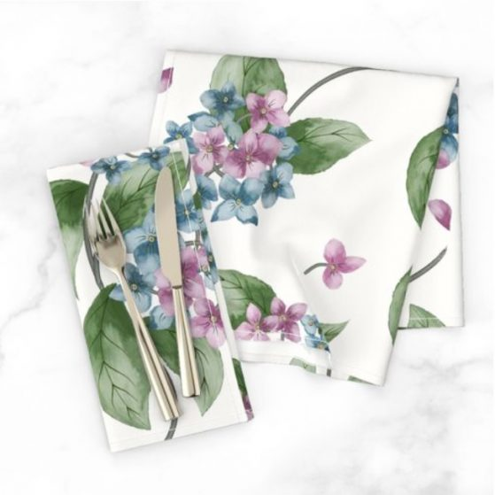 Floral Hydrangeas Dinner Napkins
