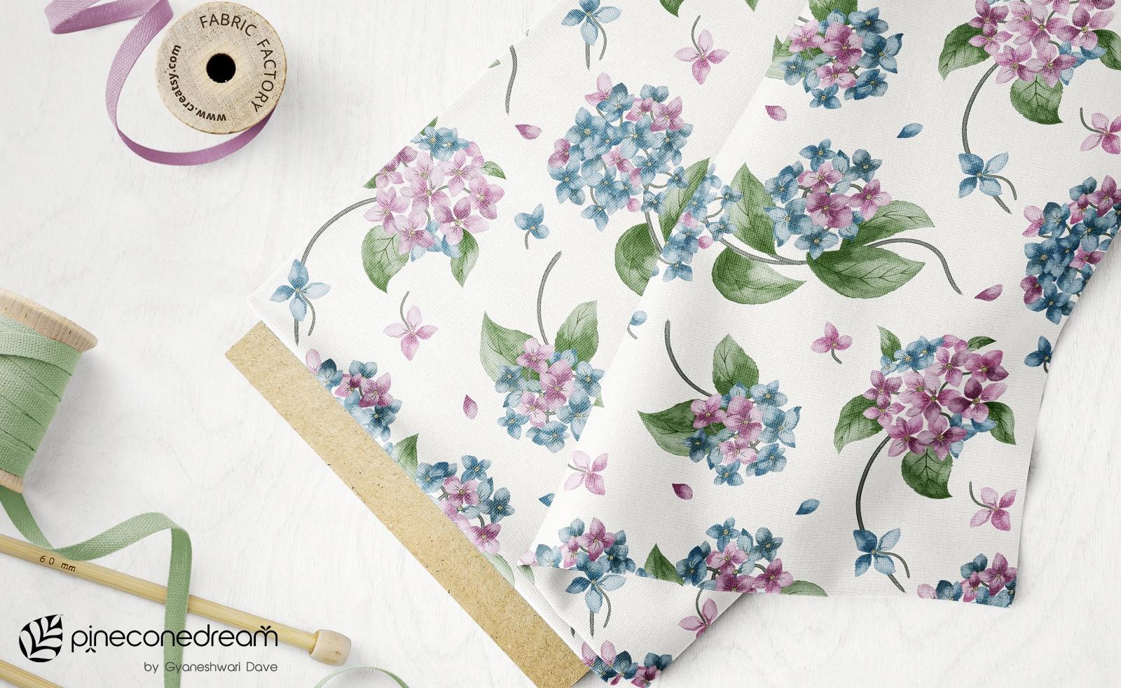 Hydrangea floral fabric spoonflower