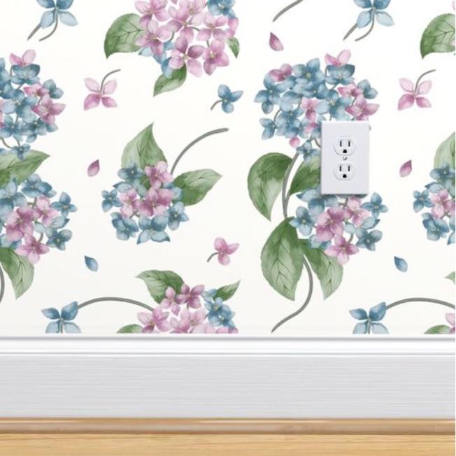 Floral Wallpaper Hydrangeas Home Decor
