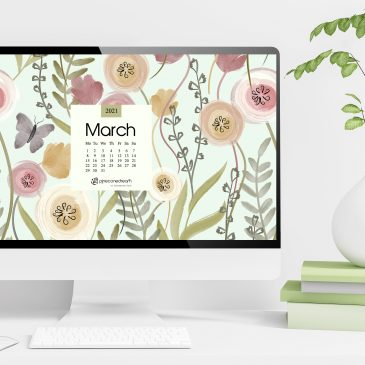 March 2021 free calendar wallpapers & printable planner, illustrated – Vernal Field