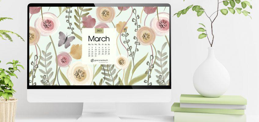 March 2021 Calendar wallpaper desktop