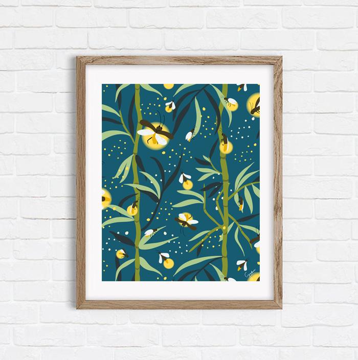 Glowing Bamboos - Shop Art Print