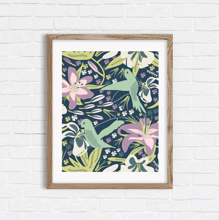 Hummingbird In Lilies - Art Print